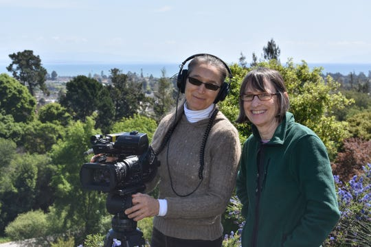 "Beth Fowler, left, of Pierce Township in Clermont County, director of photography, and Meg Hanrahan, of Madeira, writer, producer and director, during production of ""A Force for Nature: Lucy Braun"" in Santa Cruz, California."