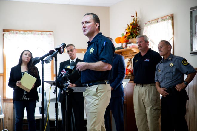 Montgomery County Sheriff John Fuson speaks during a news conference about the manhunt for Kirby Wallace on Thursday in Woodlawn.