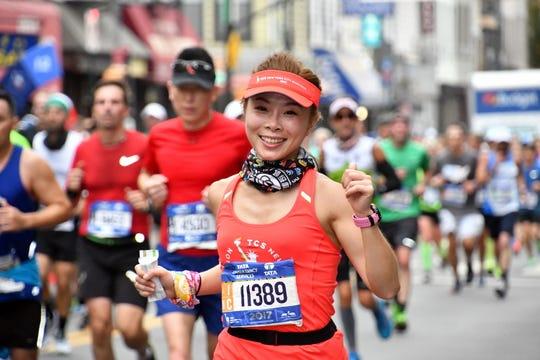 A 2017 TCS New York City Marathon runner.