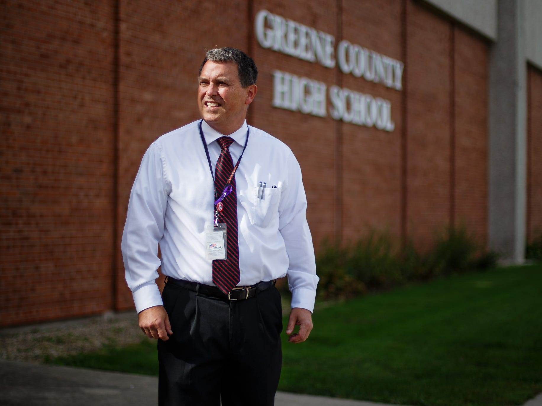 Greene County School District Superintendent Tim Christensen poses for a photo outside the high school on Thursday, Sept. 27, 2018 in Jefferson. An agreement with Pillar Technology, a software consultant in Des Moines, has the district investing in a training program and more technology classes that will help Pillar fill up to 35 jobs in a $1.7 million refurbished office on the towns square.