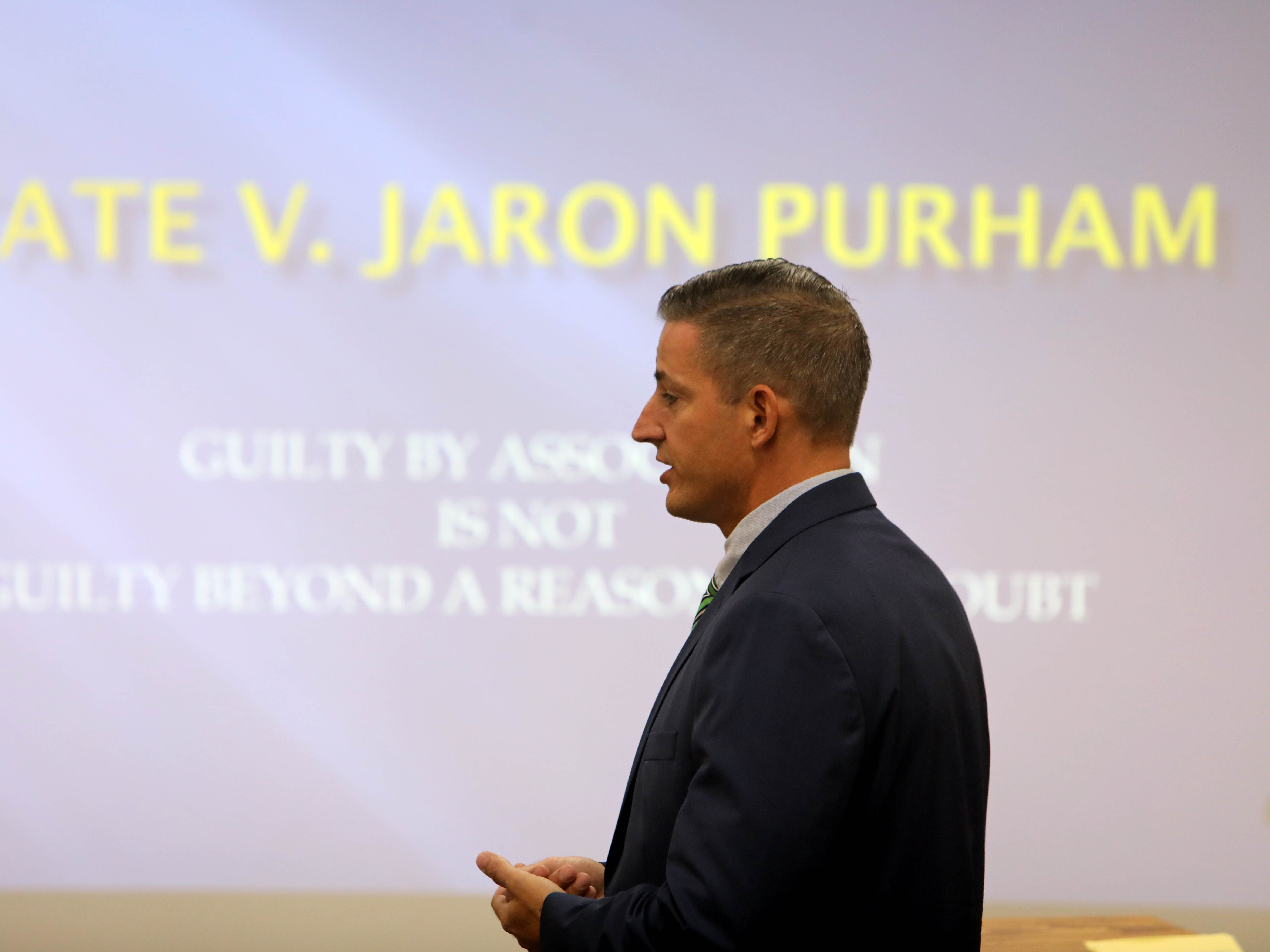 "Defense attorney Allen Cook gives his closing arguments in Jaron ""Wikked West"" Purham's first degree murder trial, Thursday Oct. 4, 2018 in the Washington County District Courtroom in Washington, Iowa. Purham is charged with first-degree murder in the death of 16-year old Kedarie Johnson, a gender-fluid Burlington High School student who was shot to death March 2, 2016. [John Lovretta/thehawkeye.com]"