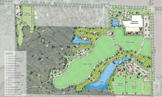 The master plan for the proposed Hickory Glen Park in Pleasant Hill shows the proposed location of the park's playground, shelter, splash pad, community center and other amenities.