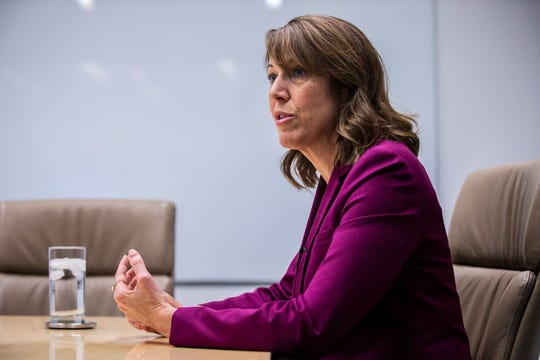 Cindy Axne, Democratic candidate for Iowa's 3rd Congressional District, meets with the Des Moines Register editorial board on Thursday, Oct. 4, 2018, in Des Moines. Axne is running against Republican congressman David Young and Libertarian challenger Bryan Jack Holder.