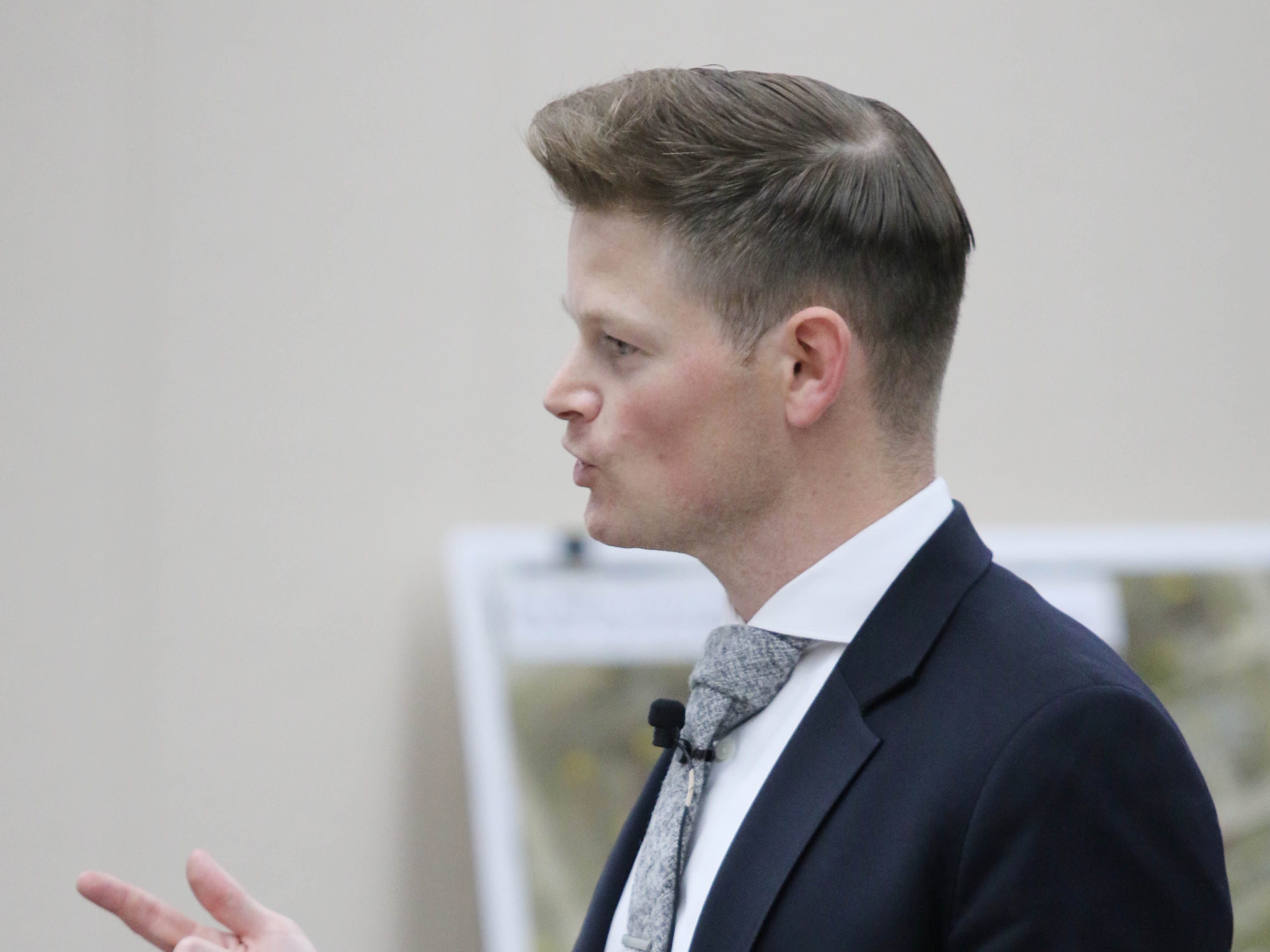 "Assistant U.S. attorney Christopher Perras gives a rebuttal argument to defense closing arguments in the first degree murder trial of Jaron ""Wikked West"" Purham, Thursday Oct. 4, 2018 in the Washington County District Courtroom in Washington, Iowa. Purham is charged with first-degree murder in the death of 16-year old Kedarie Johnson, a gender-fluid Burlington High School student who was shot to death March 2, 2016. [John Lovretta/thehawkeye.com]"