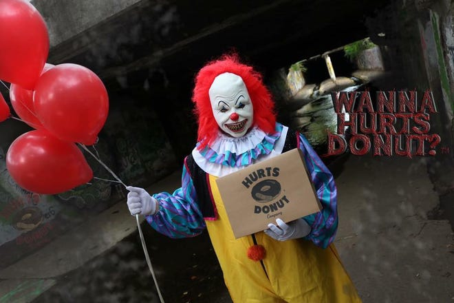 Iowans in the Des Moines and Coralville areas can send a scary clown to deliver doughnuts from Hurts Donut.