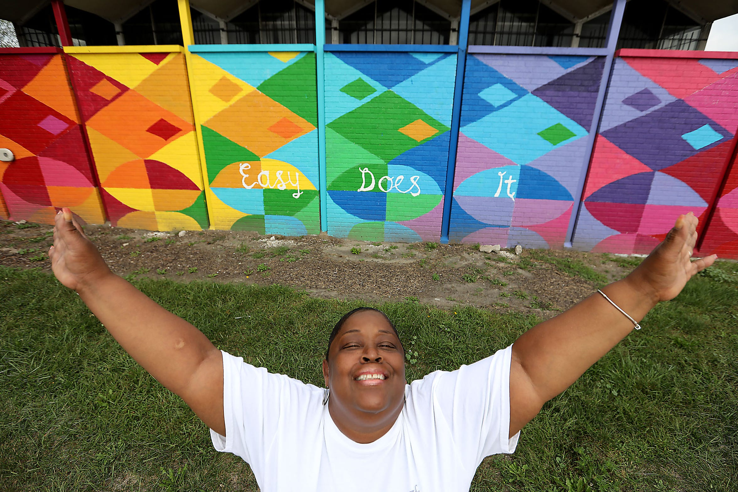 Stacia Cottrell-Scott, 54, of Detroit talks about living with a HIV diagnosis and being an advocate for those living with addiction and the consequences at the Detroit Recovery Project in Detroit on Wednesday, Sept. 19, 2018.