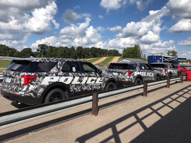 Ford Police Interceptor Utility vehicles staging at Grattan Raceway in early September 2018 for Michigan State Police testing.