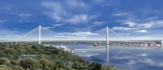 A rendering of the Gordie Howe International Bridge connecting Detroit, Michigan and Windsor, Ontario.