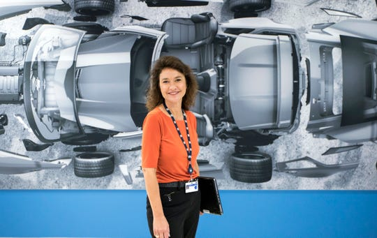 Annette Diver, GM Senior Engineering Chain Management Process Improvement Implementation Leader is photographed in the lobby of the GM Tech Center in Warren on Monday, September 24, 2018.