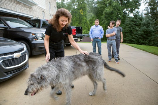 From left, Annette Diver, GM Senior Engineering Chain Management Process Improvement Implementation Leader and her family Eden Diver Jr., 50, Eden III, 17, and Gabriel Diver, 14, prepare to leave for work and school while their dog Snuggles is led back in the house in Rochester on Wednesday, September 26, 2018.  The Divers have 3 Chevrolet vehicles--Silverado, Suburban and Malibu.