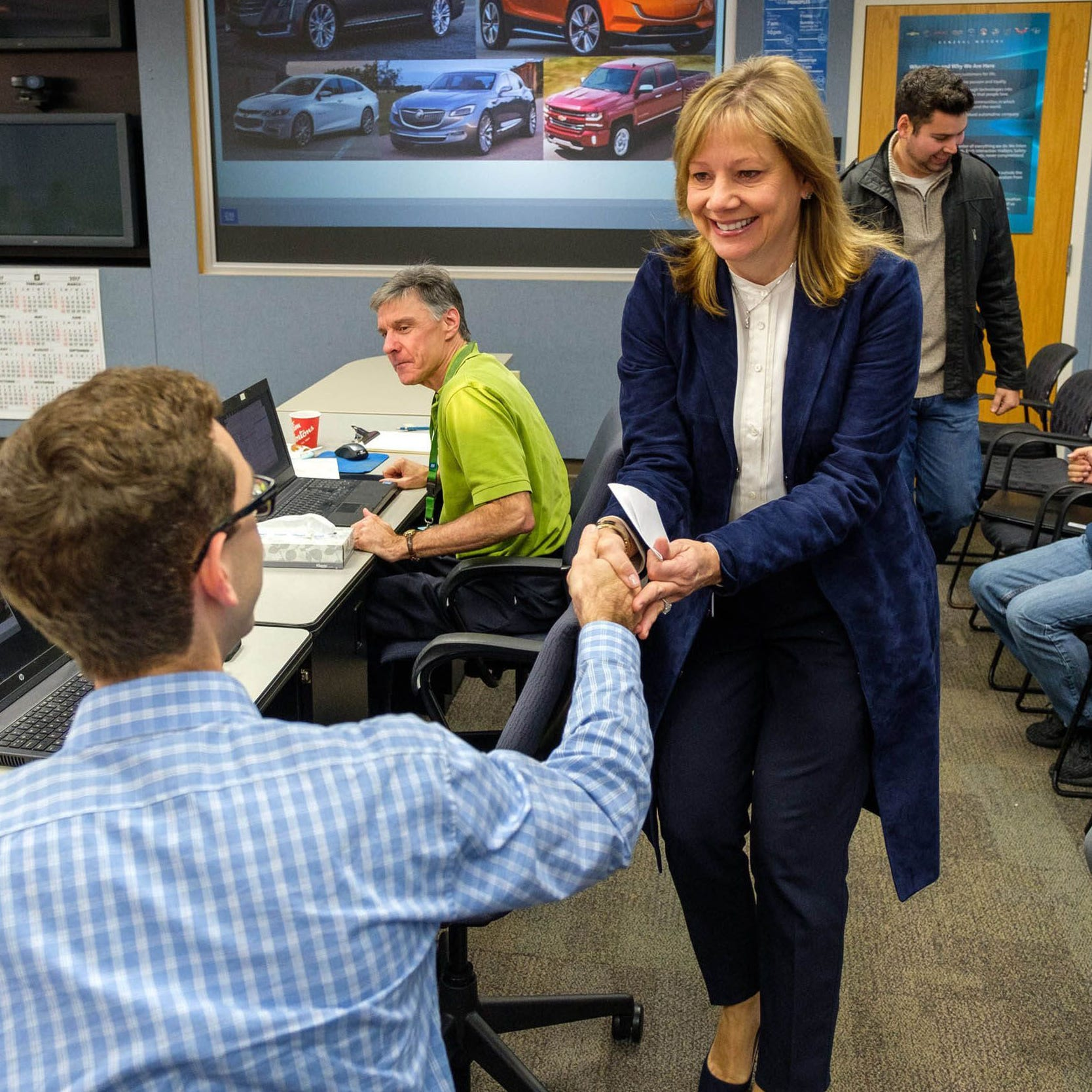 General Motors Chairman and CEO Mary Barra meets with electrification employees in November 2017 at the GM Milford Proving Grounds in Milford.