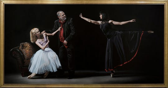Harvey Weinstein is about to be pepper sprayed by a ballerina in this large acrylic on canvas painting by Florida artist Kevin Grass. The work demonstates the power of the #MeToo movement.