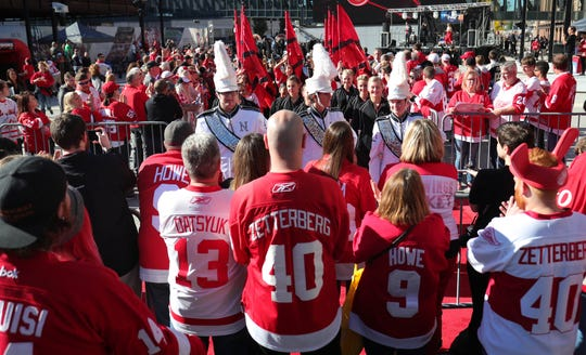 Red Wings fans line the Red Carpet for the season opener against the Columbus Blue Jackets on Thursday, October 4, 2018 at Little Caesars Arena.