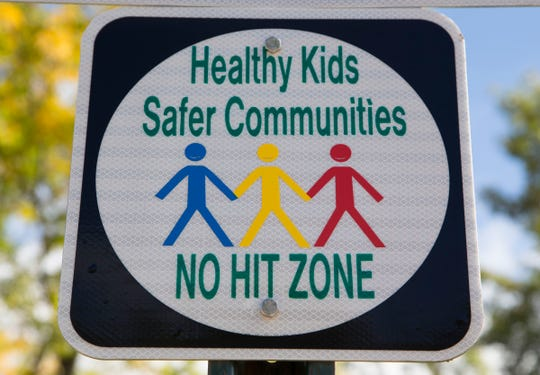 """Madison Heights City Council recently passed a resolution creating """"No Hitting"""" zones on city property, to discourage spanking, child abuse and bullying. The sign is at Madison Heights City Hall on Thursday, Oct. 4, 2018."""