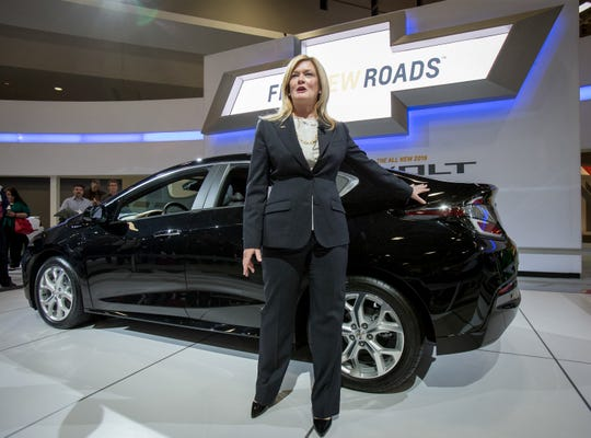 Chevrolet Volt Executive Chief Engineer Pam Fletcher discusses the 2016 Chevrolet Volt electric car with extended range in January 2015 at the Washington, D.C. Auto Show.