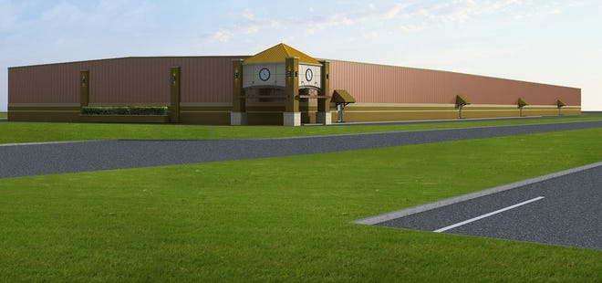 A rendering of the Oakland Business Park to be built in Orion Township. The 288,000-square-foot complex will feature marijuana growers, processors, transporters and safety compliance tenants, developers say.