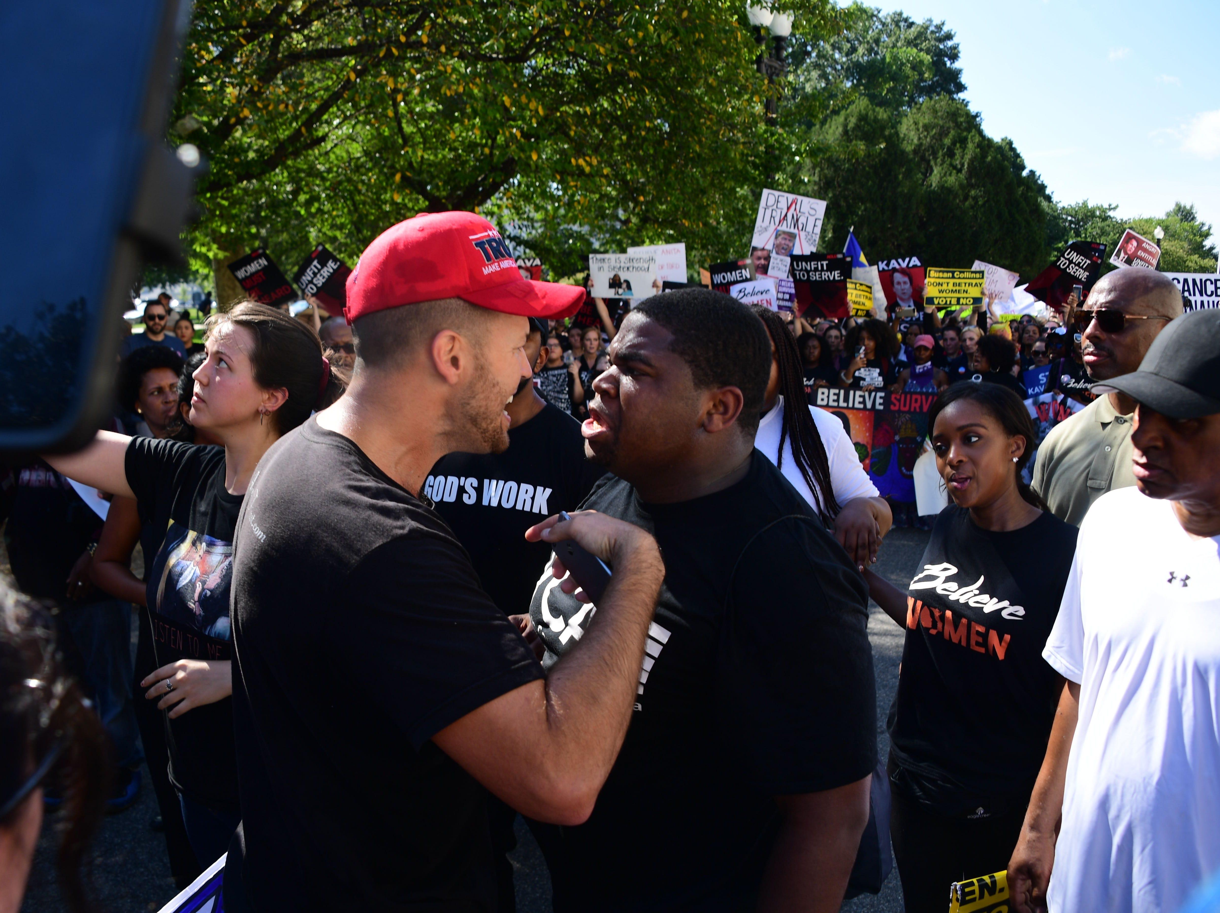 Demonstrators protest U.S. Supreme Court nominee Brett Kavanaugh near the Capitol on Oct. 4, 2018, in Washington, D.C.