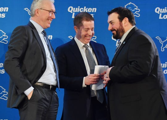 The tandem of general manager Bob Quinn (center) and head coach Matt Patricia (right) will need more than one season to yield optimum results.