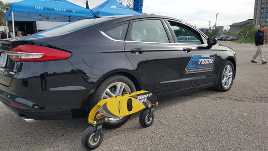 """Drift Lift"" equipped Ford Fusions allow students to simulate cars oversteering and going out of control. With proper steering and throttle inputs, drivers can negotiate out of a slide."