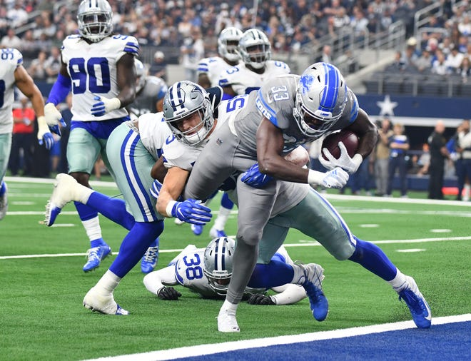 Rookie running back Kerryon Johnson scored here, but the Lions are last in the NFL, converting just 33 percent of their trips inside the 20 into touchdowns.