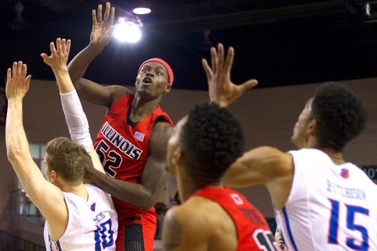 Nov 17, 2017; Conway, SC, USA; Illinois State Redbirds forward Milik Yarbrough (52) watches the shot during the first half of the game against the Boise State Broncos at The HTC Center.