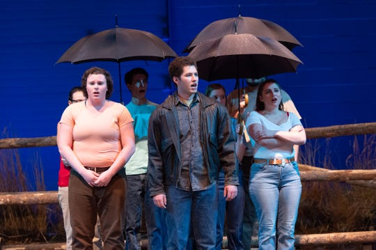 """This scene from 'The Laramie Project' depicts the funeral of Matthew Shepard. The Colorado State University School of Music Theatre and Dance recently performed """"The Laramie Project,"""" written by Moisés Kaufman and guest directed by Charlie Oates."""