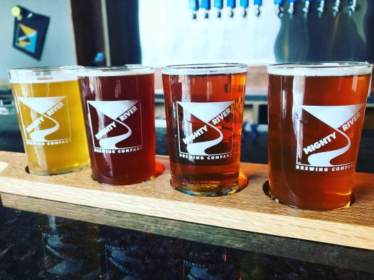 A flight of beers at Mighty River Brewing in Windsor.