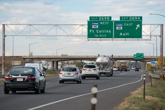 Traffic travels northbound near CO-14 on Tuesday, October 3, 2018. Proposition 109 and 110 would help widen North I-25 and improve the intersection of I-25 and Highway 14.