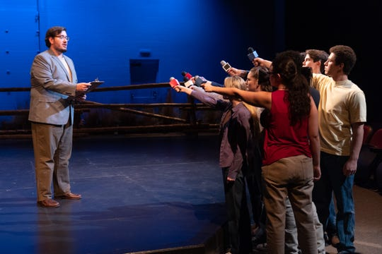 """The Colorado State University School of Music Theatre and Dance recently performed """"The Laramie Project,"""" written by Moisés Kaufman and guest directed by Charlie Oates.  This scene depicts media interest in Matthew Shepard's death at Poudre Valley Hospital in Fort Collins."""