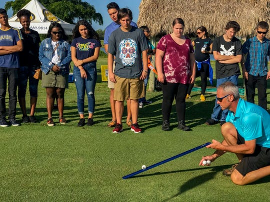 Alico Family Golf employees show Lee County high school students how their profession is linked to STEM - science, technology, engineering, math. Students also received career planning and business marketing advice from Pat Montana, a former professor at Fordham and Hofstra.