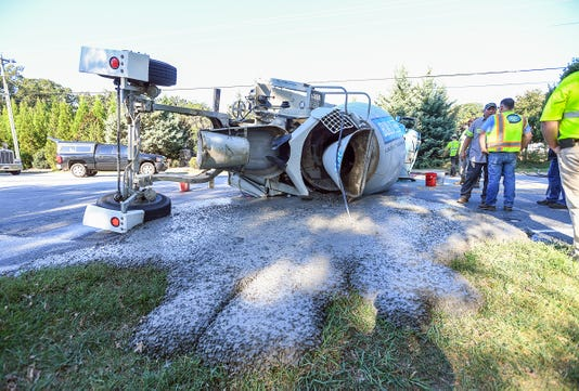 Overturned Cement Truck