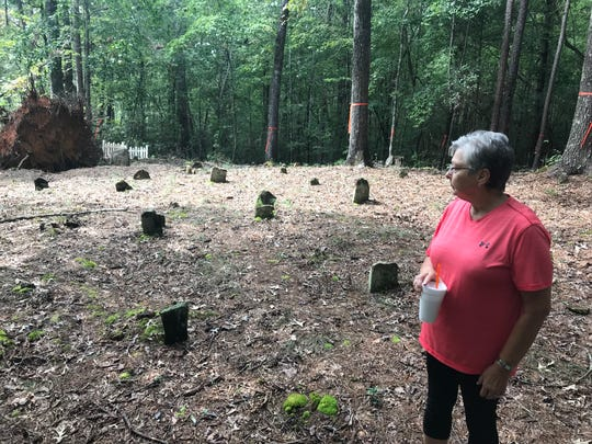 Helen Winchester Dodgens at her family's ancestral cemetery in Pickens County.