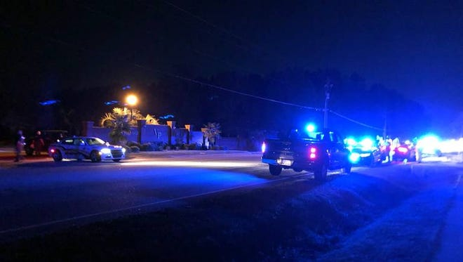 A police presence in Florence, S.C., Wednesday, Oct. 3, 2018, after seven law enforcement officers were shot, one fatally, by a man being served a search warrant.