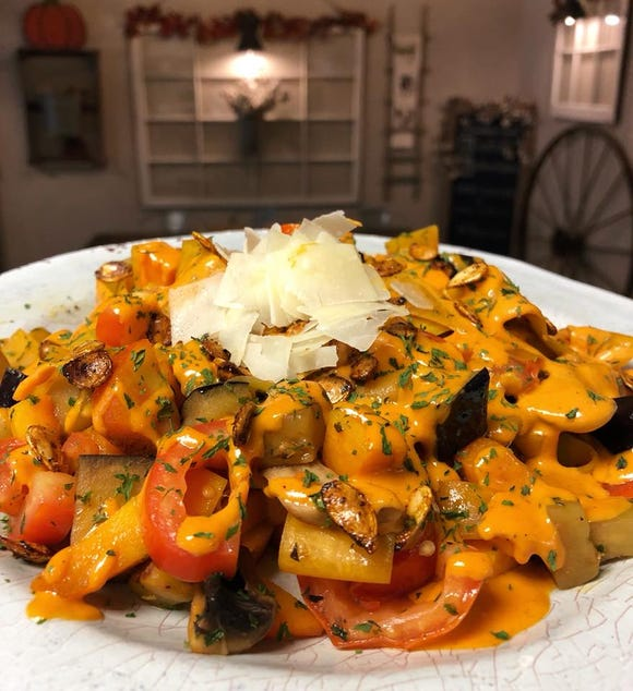 The new Fall Harvest Pasta at Farm Fresh Fast is an explosion of local fall ingredients.