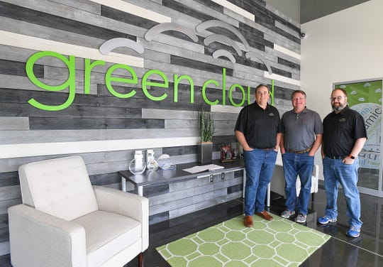 Green Cloud Technologies founders, from left, Keith Coker, Charles Houser, and Eric Hester at their Greenville headquarters Monday, October 1, 2018.