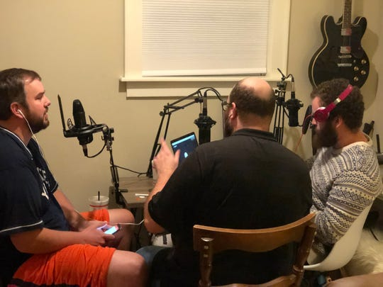 Daniel Thompson, Daniel Pandolph and Brandon Gray record an episode of the 'Deck the Hallmark' podcast.