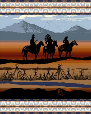 The design for a new Pendleton wool blanket features symbols representing the Nez Perce, as well as tribal leaders, landscapes and battle sites from the War of 1877. It was designed by Terry Ball of Cascade, with Elders LeRoy Seth and Silas Whitman.