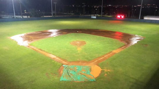 Paseo Stadium field after a 20-minute rain shower on Sept. 28, after play was stopped in the top of the fourth inning in Game 5 of the Guam Major League Championship Series between the defending champion Guam Autospot Orioles and the IT&E Rays. The Rays lead the series 3-1.
