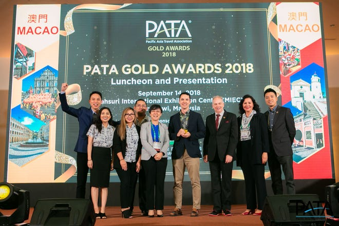 GVB won the PATA Gold Award for its #instaGuam campaign at the PATA Gold Awards in Malaysia. From left: Jason Lin, GVB global media strategist; Colleen Cabedo, GVB marketing manager for Korea; Gabbie Franquez, GVB marketing coordinator for Russia and the Philippines; Mark Manglona, marketing manager for North America and the Pacific; Maria Helena de Senna Fernandes, PATA secretary/treasurer; Nathan Denight, GVB president and CEO; Mario Hardy, PATA CEO; Pilar Laguana, GVB director of global marketing; and Gary Cheng, TripAdvisor destination marketing, north Asia.
