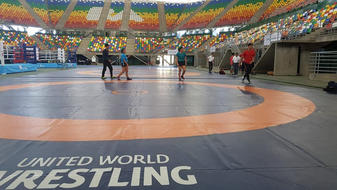 Guam wrestlers competing at the Youth Olympic Games in Buenos Aires, Argentina train on Oct. 4, 2018.