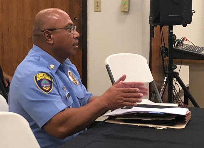 Guam Police Department major Andrew Quitugua proposes a GPD-initiated survey - to be held at precincts on Election Day - to the Guam Election Commision during a board meeting held Oct. 4 at the GCIC building.
