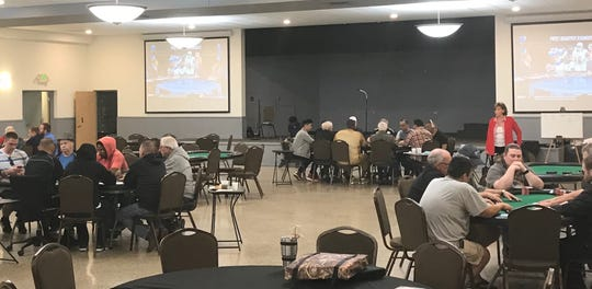 About 30 poker players playing at the Northside Knights of Columbus, 2100 E. 71st St., about 2:30 p.m. Wednesday, Oct. 3, 2018