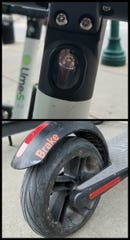 Lights located on the front and side-rear of a Lime scooter