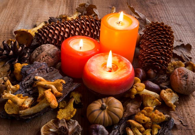 Fall candles decorations with dried leaves, pumpkins, chanterelle mushrooms, pine cones
