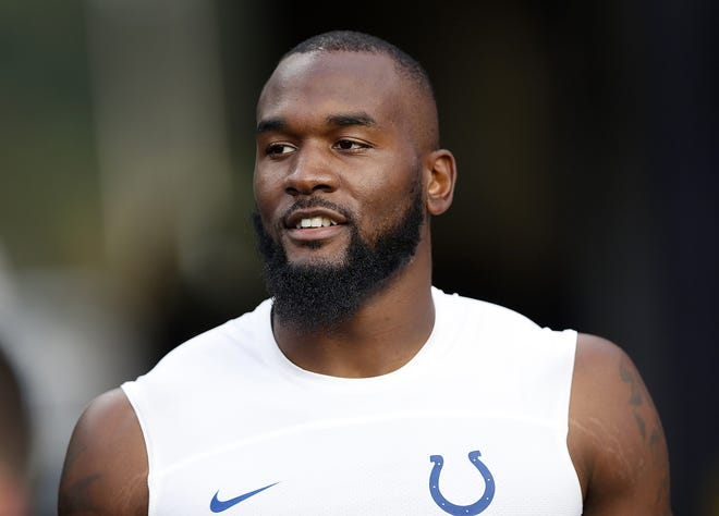 Indianapolis Colts linebacker Darius Leonard (53) before the start of their game against the New England Patriots at Gillette Stadium in Foxborough, MA., on Thursday, Oct. 4, 2018.