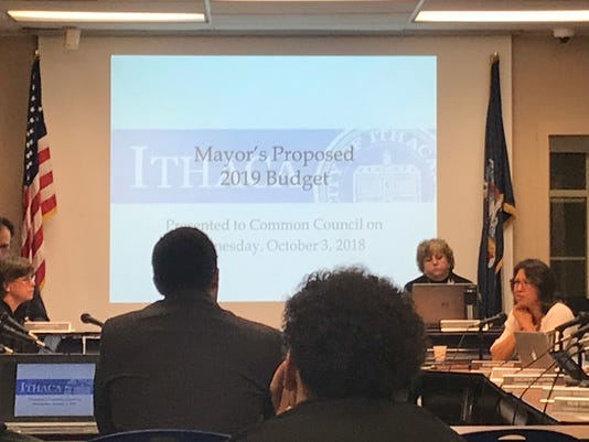 Ithaca Mayor Svante Myrick presents his proposed budget.