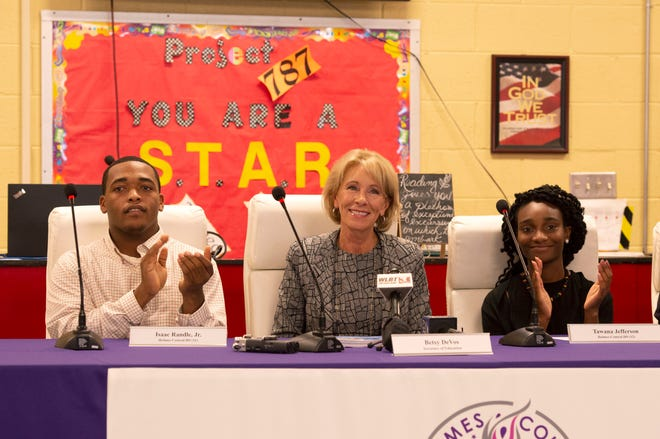 U.S. Secretary of Education Betsy DeVos is welcomed by students and attendees of a roundtable for the Holmes County Consolidated School District held at Holmes Central High School in Lexington, MS. Thursday, Oct. 4, 2018.