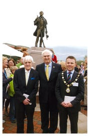 Northern Ireland journalist/author Billy Kennedy (left) is shown with Congressman Jimmy Duncan and Councillor Thomas Hogg, Mayor of Antrim and Newtownabbey Borough Council in Northern Ireland, in Maryville at the unveiling of a statue to Sam Houston. March 2016.