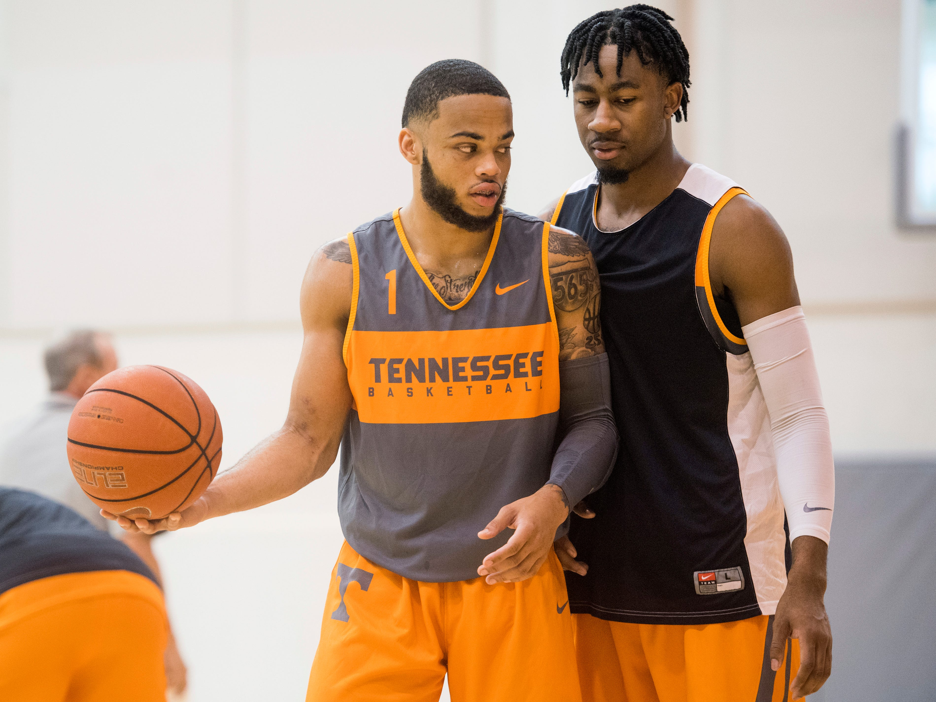 Tennessee guard Lamonte Turner (1) and guard Jordan Bowden (23) during basketball practice at Pratt Pavilion on the University of Tennessee's campus on Thursday, October 4, 2018.