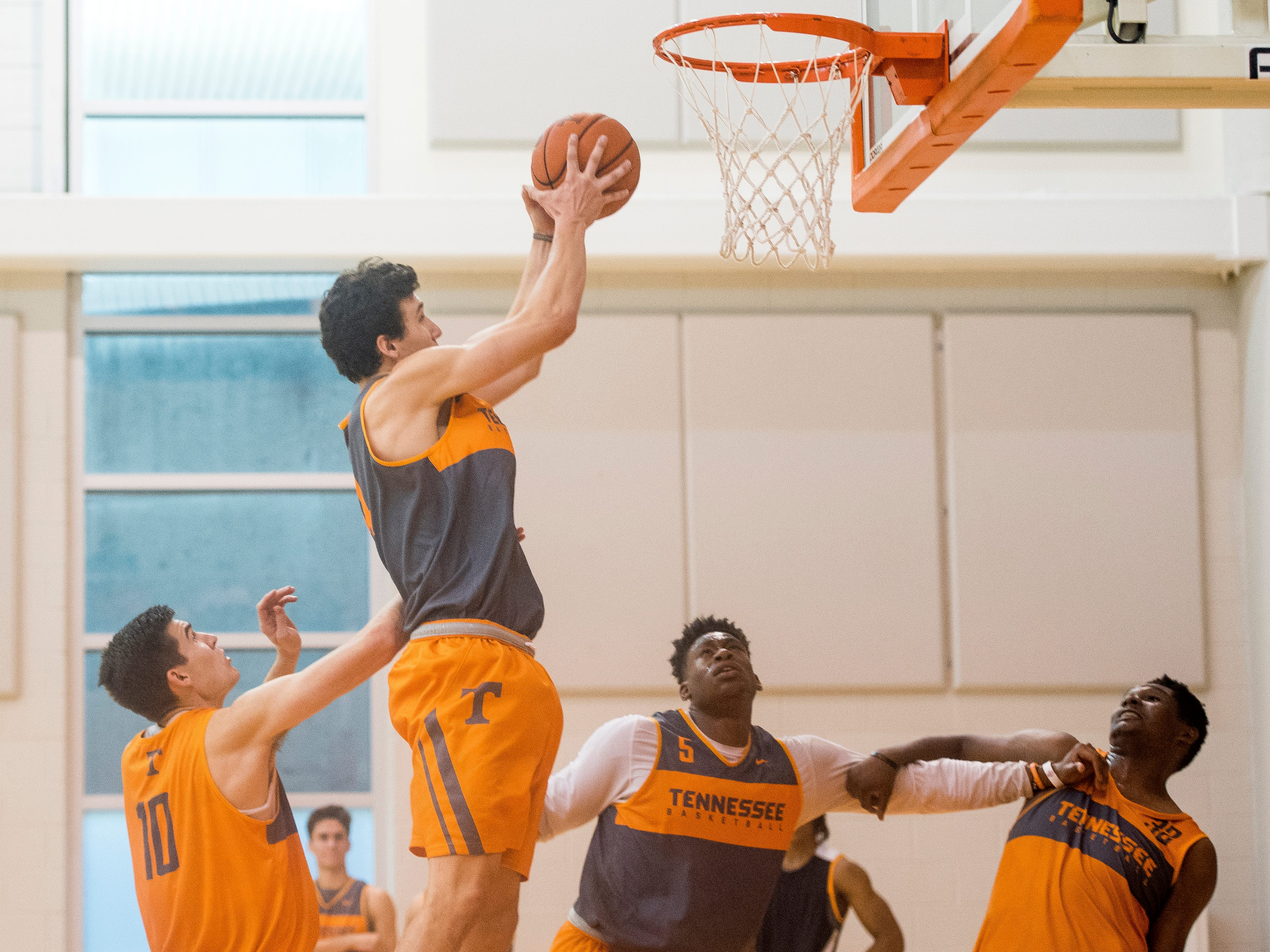 Tennessee forward Brock Jancek (34) grabs the rebound during basketball practice at Pratt Pavilion on the University of Tennessee's campus on Thursday, October 4, 2018.